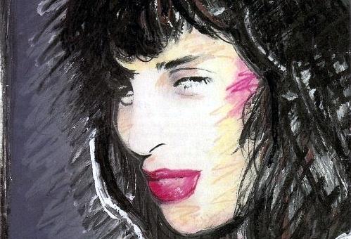 Detalhe da ilustração de Lídia Brondi feito por Jejo Cornelsen (Playboy, agosto de 1987).
